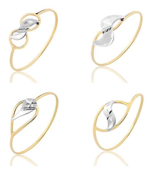 4 Anéis Ouro Puro 10k Coleção Amarelo Puro Vazado(a12a6a1a3)