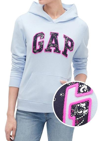 Sudadera Dama Hoodie Gorro Cerrada Con Logo Mujer Gap