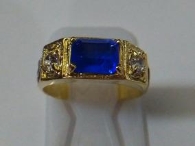 Lindo Anel Recursos Humanos Masculino Pedra Azul Safira