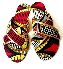 Vendo Sandálias Femininas Com Estampa Afro.