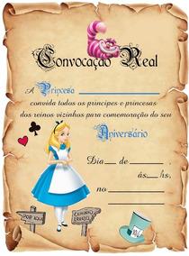 30 Convite Pergaminho Alice No Pais Das Maravilhas Pronta En