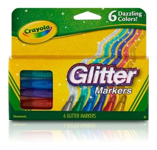 Imagen 1 de 3 de Marcadores C/ Glitter Crayola X6 Colores Intensos Brillantes