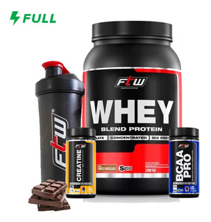 Kit Econômico Wpb Ftw Fitoway - Whey + Bcaa Best 120caps + Creatina Best 150gr + Coqueteleira
