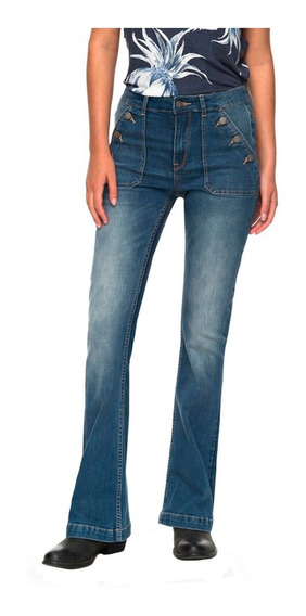 Jeans Mujer Pantalón Acampanado Deslavado Cintura Alta Roxy