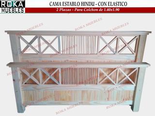Cama Establo Hindu 2 Plazas - Colchón De 1.40x1.90 Reforzado