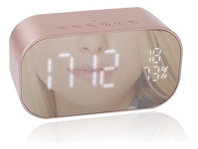 Caixa De Som Rádio Relógio Despertador Bluetooth Usb Sd Rosa
