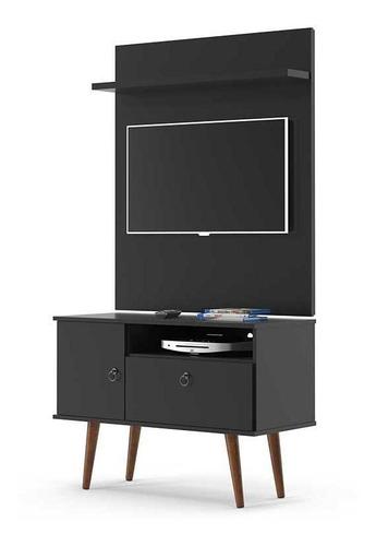 Imagem 1 de 4 de Rack Com Painel Pequeno Retro Para Tv Até 32 Yan Preto