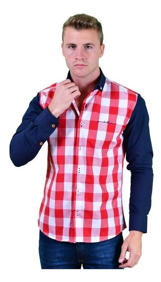 Camisa Porto Blanco Caballero Algodon Roja Cuadros
