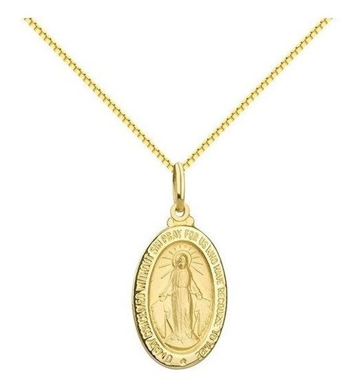 Corrente + Medalha De Ouro 18k Nossa S Graças - Viagold O25