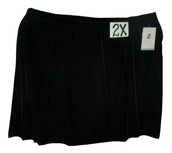 Falda Negra Tipo Terciopelo Media Corta Talla 2x Jaclyn Smi