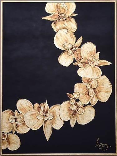 Imagen 1 de 4 de Cuadro Decorativo Orquideas Oro Këssa Muebles