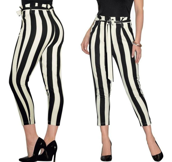 Pantalón Dama Mujer Moda Casual/formal Ivory/negro Comodo