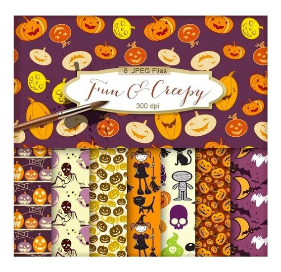 Kit Vectores Papel Digital Halloween Fun & Creepy