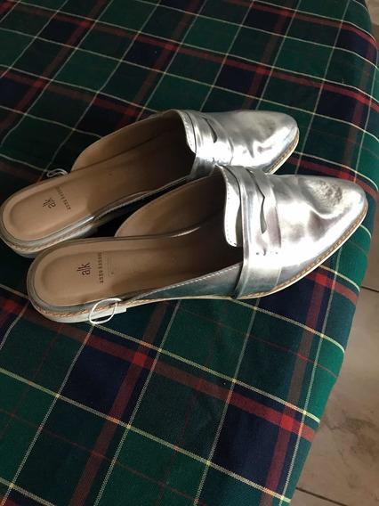 Suecos Cuero Color Plata