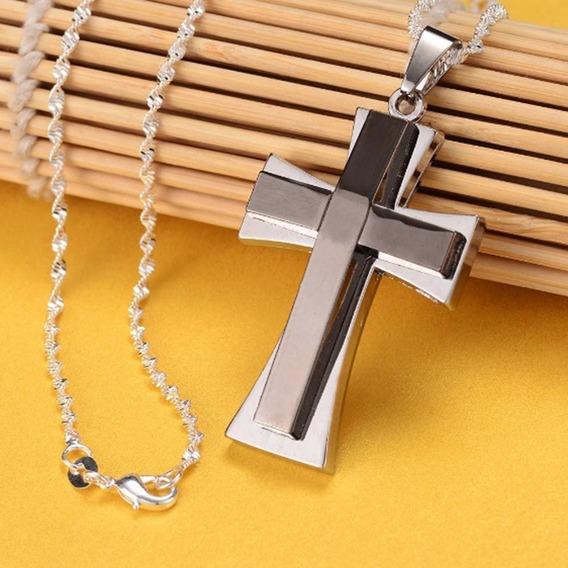 Colar Corrente Masculina Crucifixo 55cm Ou 60cm Aço Inox