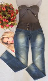 Calça Jeans Com Cós Bordado Tam 38