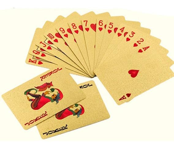 Baralho Dourado Prata Folheado Poker Truco Cartas Jogos Dola