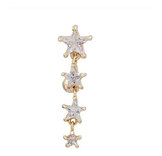 Piercing De Umbigo Invertido Dourado Estrela Zirconia F Ouro