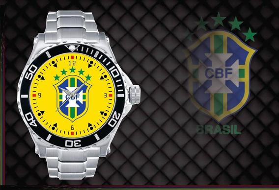 Relógio De Pulso Personalizado Cbf Brasil Copa 2018 Amareloo
