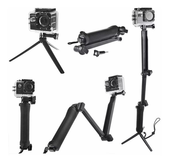 Kit Gopro Hero Black Bastão 3 Way Flutuante Case Estanque 5