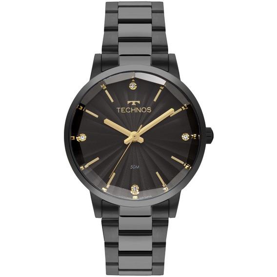 Relógio Feminino Technos Trend 2036mkw/4p 42mm Aço Preto