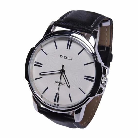 Relógio Masculino Yazole 332 Pulseira Preta Fundo Branco
