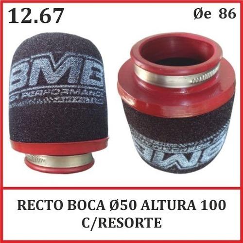 Filtro Bmb Motos Recto 050 X 100 Competicion Con Resorte