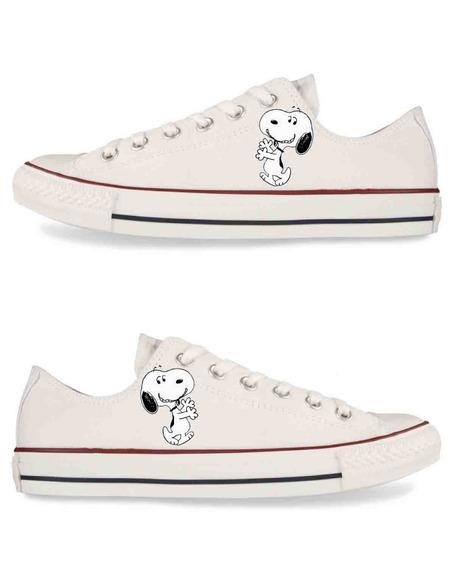 Zapatos Dama Choclo Snoopy Smile Pintados A Mano
