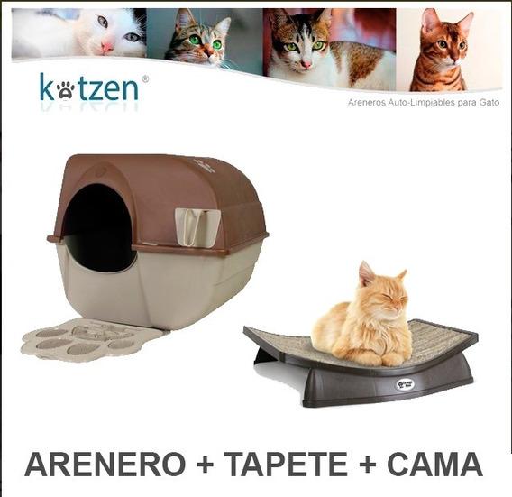 Arenero Gato Semiautomatico Regular + Tapete + Cama Omega P.