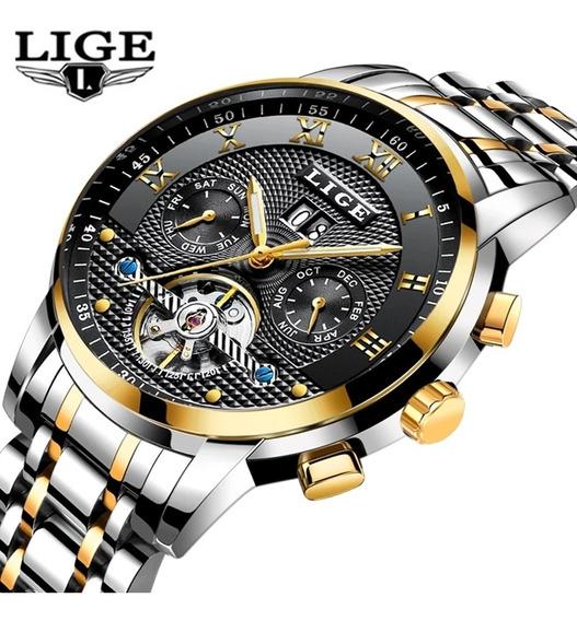 Relógio Lige De Luxo Automático Mecânica Prova D