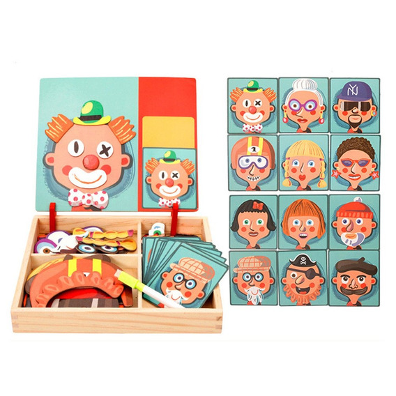 Madeira Magnetic Puzzle Brinquedos Crianças 3d Quebra-cabeça