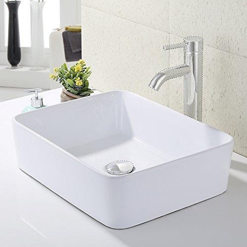 Kes Baño Rectangular Lavabo Sobre Encimera De Porcelana Sob