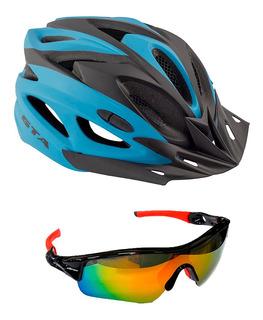 Capacete Ciclismo Gta Mtb C/led + Oculos Espelhado Ciclismo
