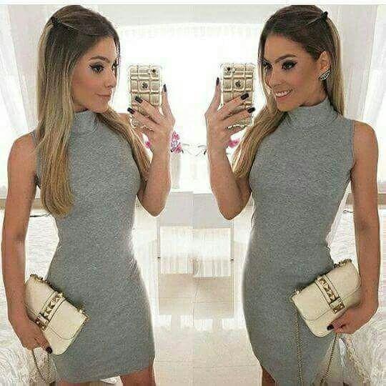 Vestido Midi Clássico Gola Secretaria Moda Luxo Blogueira