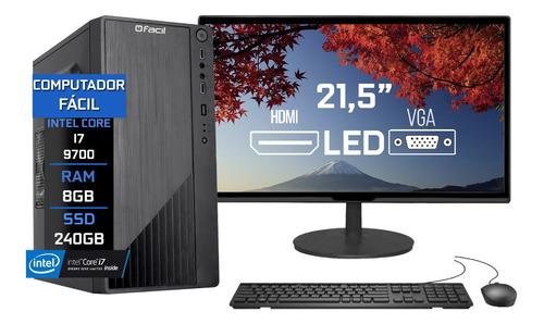 Imagem 1 de 5 de Pc Completo Fácil Intel I7 9700 8gb Ssd 240gb Monitor 21