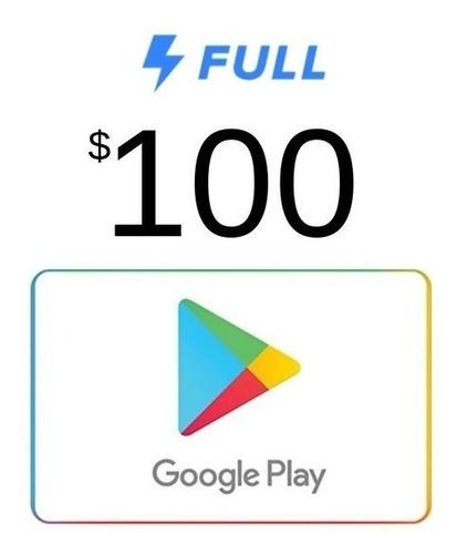 Imagen 1 de 2 de Tarjeta De Regalo Google Play De 100 Pesos