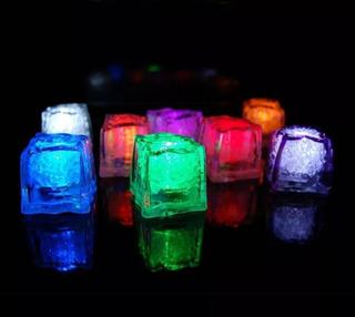 12 Cubos Hielo Led Luminoso Sumergible Fiestas Bodas Evento
