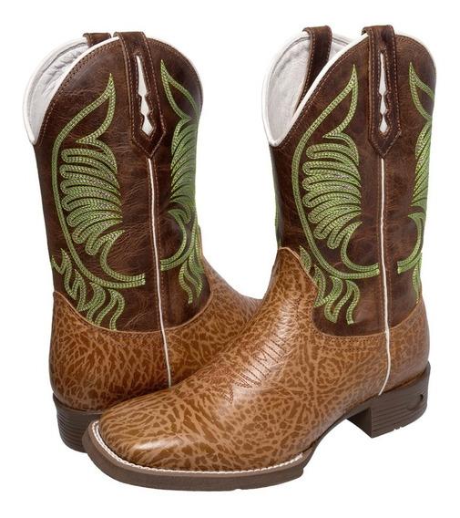Bota Botina Masculina Texana Country Cano Longo Em Couro