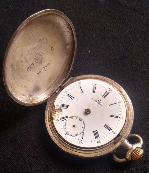 Reloj Antiguo De Bolsillo Omega De Plata