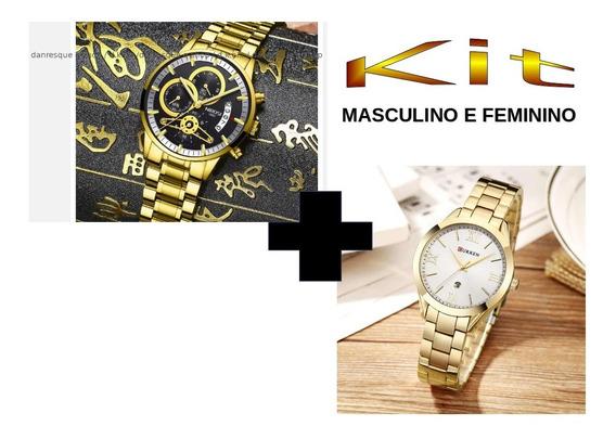 Relógio Nibosi Masculino E Curren Feminino Kit2