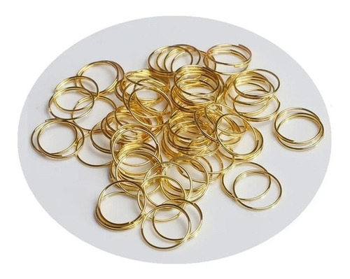 100 Argolas De Aço Dourada 10mm Lustres E Bijuterias