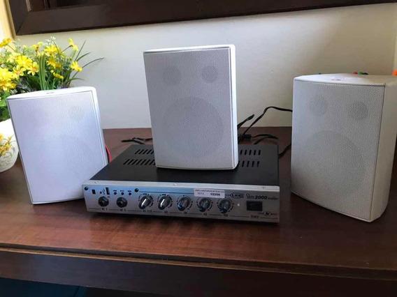 Amplificador Som Ambiente Loja Casa Home Com 3 Caixas