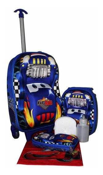 Kit Mochila Infantil Masculina Carros 3d +lancheira Estojo