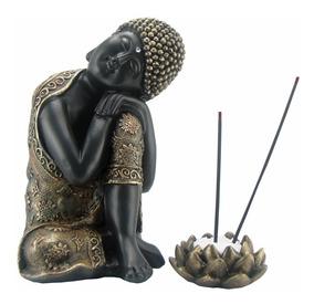 Buda Tibetano Hindu C/ Porta Incenso Flor De Lotus - Vela