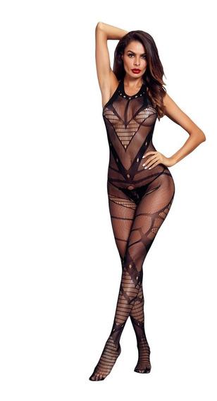 Body Lenceria Enterizo Sexy Mujer Malla Halter E790002