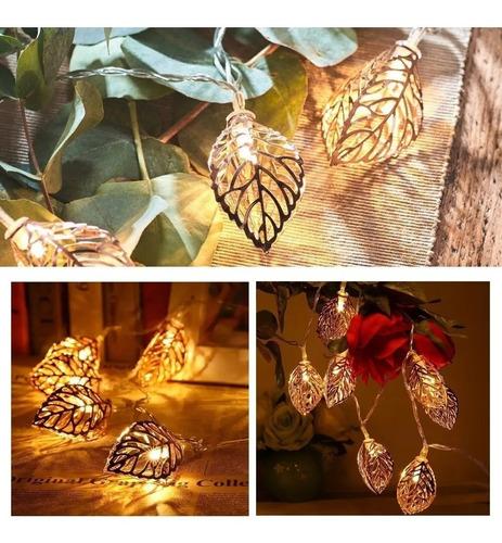 Guirnalda Hojas Metalicas Con Luz Led