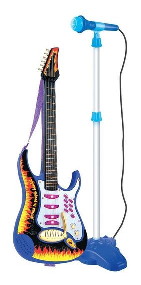 Micrófono De Pie Con Guitarra Rockera A Pila El Duende Azul