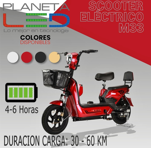 Scooter Moto Bicicleta Electrica Doble Asiento Bateria Liti