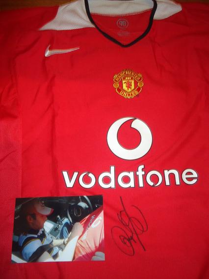 Autografiada! Camiseta Manchester U.firmada X El Gales Giggs