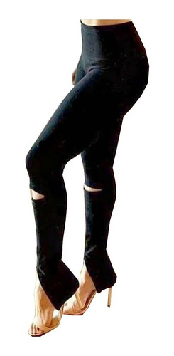 Imagem 1 de 8 de Calça Feminina Legging Bandagem Rasgo Joelho Zíper Barra